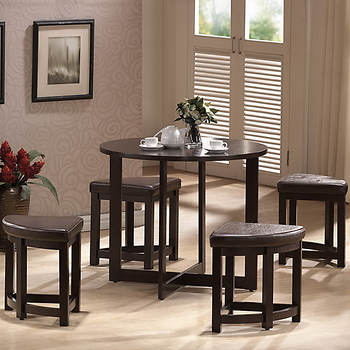 Baxton Studio Rochester 5-Pc. High Dining Set - Dark Brown