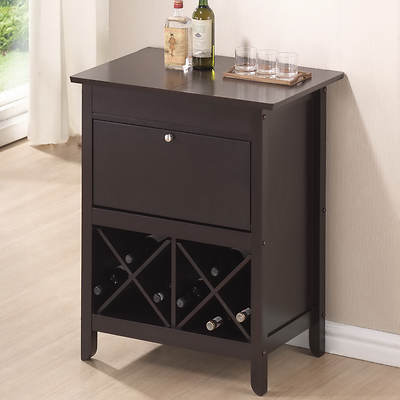Baxton Studio Tuscany Dry Bar with Wine Rack - Dark Brown
