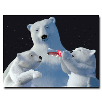 """Coca-Cola Polar Bear with 2 Cubs and Coke Bottle Gallery-Wrapped Giclee Print, 24"""" x 18"""""""