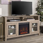 """W. Trends 58"""" Highboy Fireplace TV Stand - Driftwood"""