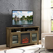 """W. Trends 58"""" Highboy Fireplace TV Stand - Rustic Oak"""