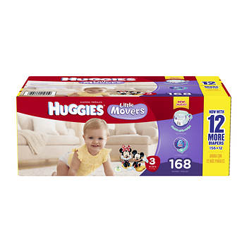 Huggies Little Movers Step-3 Diapers, 168 Count