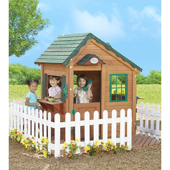 Creative Cedar Designs Mayfield Cottage Deluxe Playhouse with Kitchenware