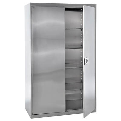 Sandusky Jumbo Storage Cabinet with Paddle Lock - Stainless Steel