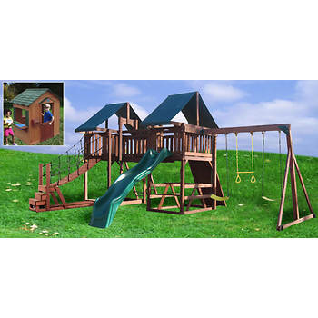 Creative Cedar Designs Jungle Fun Swing Set & Safari Playhouse