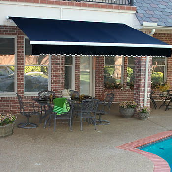 Awntech Beauty-Mark Galveston 24' Luxury Semi-Cassette Motorized Retractable Awning with Remote and 10' Projection