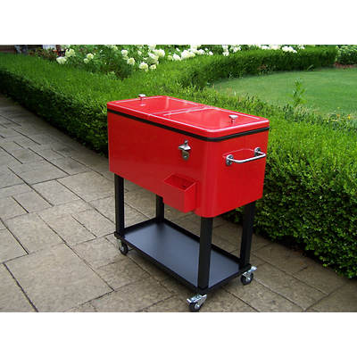 Oakland Living 80-Qt. Steel Patio Cooler with Cart - Red