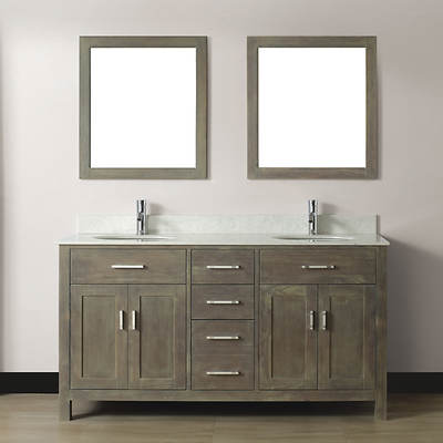 Studio Bathe Kelly 63 Double-Sink Bathroom Vanity with Carrere Solid Surface Countertop and 2 Mirrors - Grey