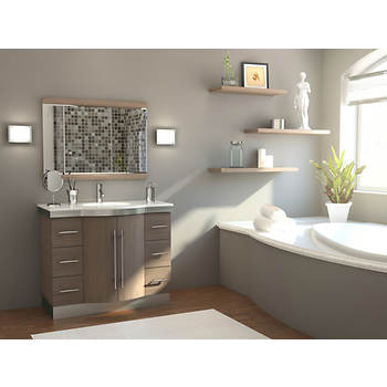 Studio Bathe Diana 42 Bathroom Vanity with Quartz Countertop and Mirror - Ash