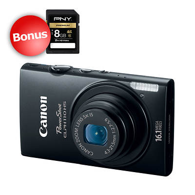 "Canon PowerShot ELPH 110 HS 16.1MP 3"" PureColor LCD 5x Optical Zoom Digital Camera with Bonus 8GB SD Card - Black"