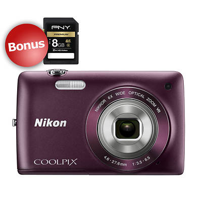 "Nikon COOLPIX S4300 16MP 3"" Touchscreen LCD 6x Optical Zoom Digital Camera with Bonus 8GB SD Card - Plum"