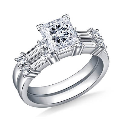 1.50 ct. t.w. Multicut Diamond Engagement Ring and Wedding Band Set in 14K White Gold