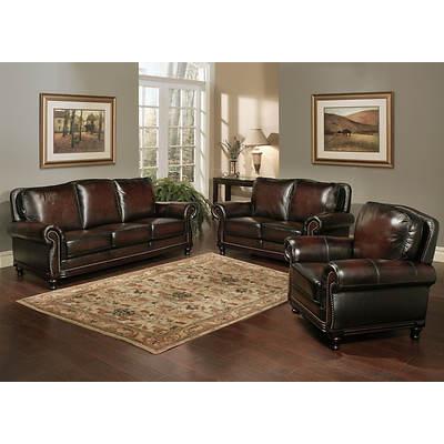 Abbyson Living Tivoli 3 Piece Top Grain Leather Living Room Set 2 Tone Brown Bj 39 S Wholesale Club