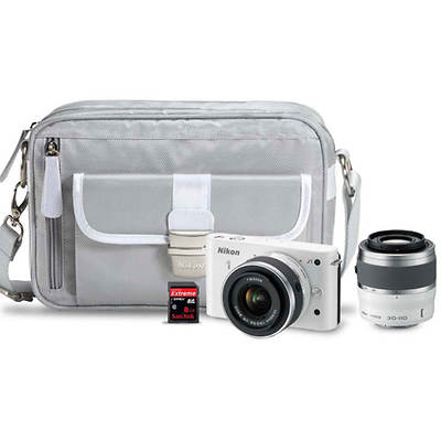 "Nikon 1 J1 10.1MP 3"" LCD 11x Optical Zoom DSLR Camera Bundle with 10-30mm and 30-110mm Lenses and with Bonus 8GB SD Card - White"