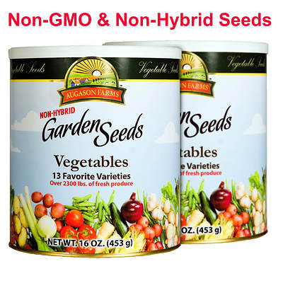 Augason Farms Non-Hybrid Vegetable Garden Seeds, 16-Oz. Can, 2-Pk