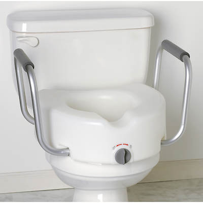 "Medline Locking 5 1/2"" Elevated Toilet Seat with Padded Arm Supports"