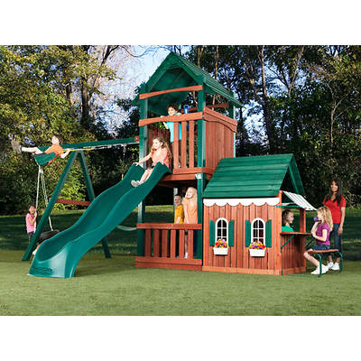 Swing-N-Slide Summer Fun Swing Set with Playhouse and Discovery Mountain Climbing Wall