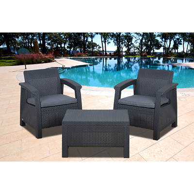Atlantic Fiji 3-Piece Patio Set with Bonus FeronGard Vinyl Preservative - Charcoal Grey