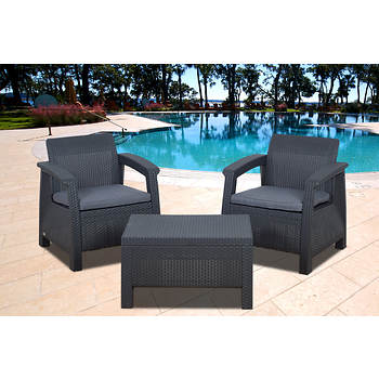 Atlantic Fiji 3-Piece Patio Set with Bonus FeronGard Vinyl Preservative - Charcoal Gray