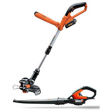 WORX 20V Max Lithium Cordless Grass Trimmer/Edger and Sweeper/Blower Combo Kit