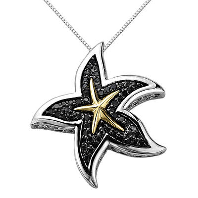 .35 ct. t.w. Black Diamond Starfish Necklace in Two-Tone