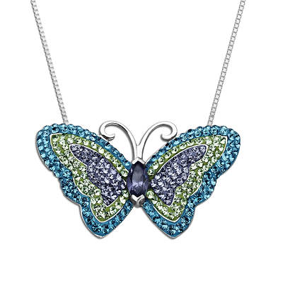 Lauren Taylor 3.15 ct. t.w. Multicolor Swarovski Elements Butterfly Necklace in Sterling Silver