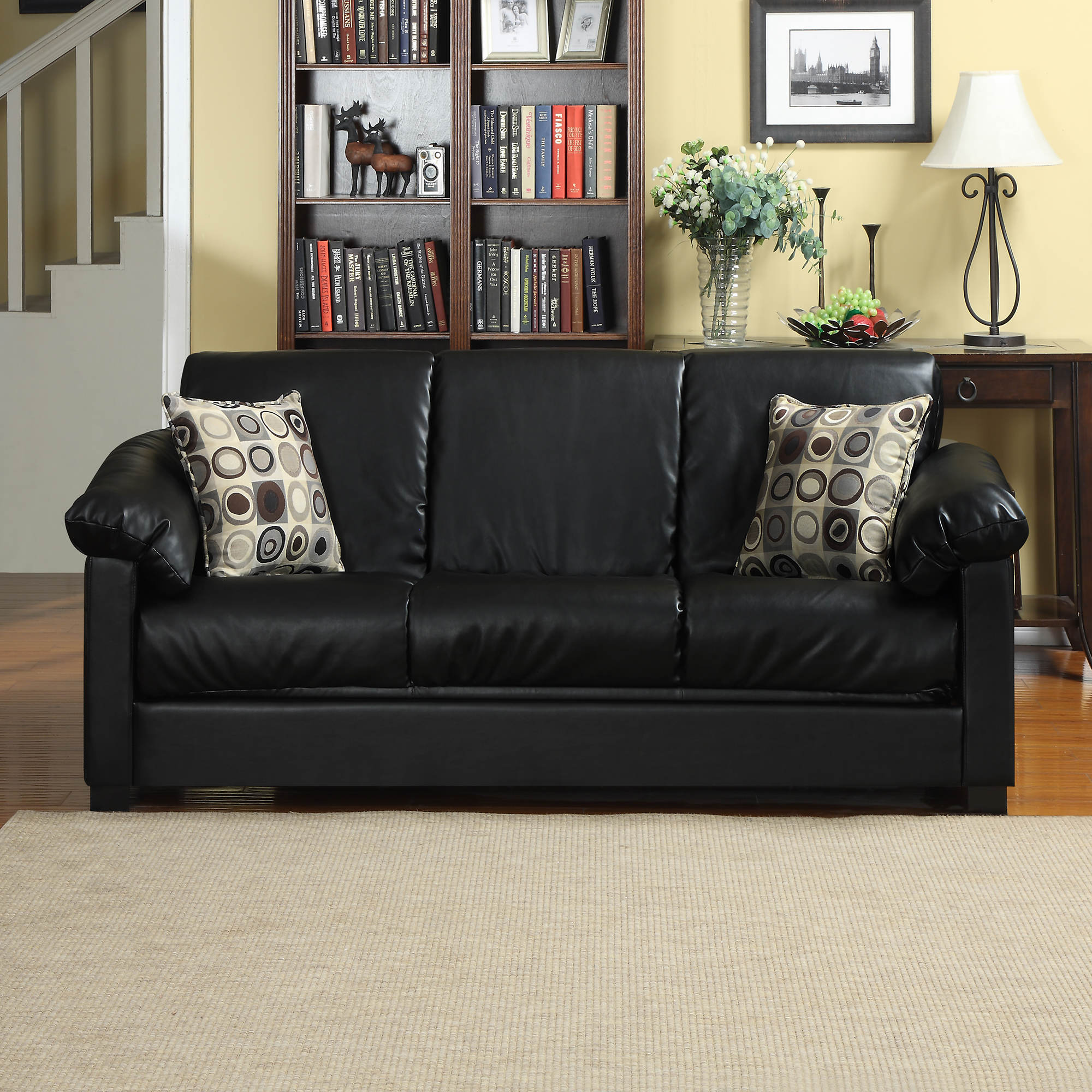 Handy Living Convert-a-Couch Renu Leather Full-Size ...
