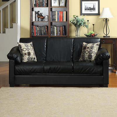 Handy Living Convert-a-Couch Renu Leather Full-Size Sleeper Sofa - Black