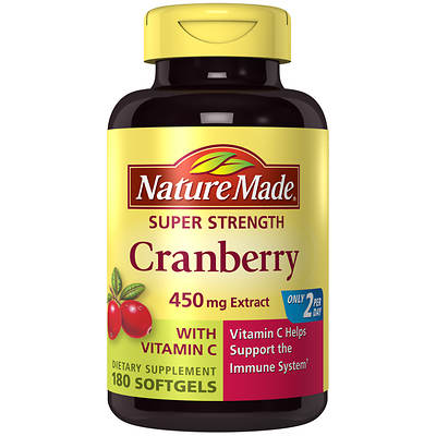 Nature Made 250mg Super Strength Cranberry with Vitamin C Softgels, 180 Count