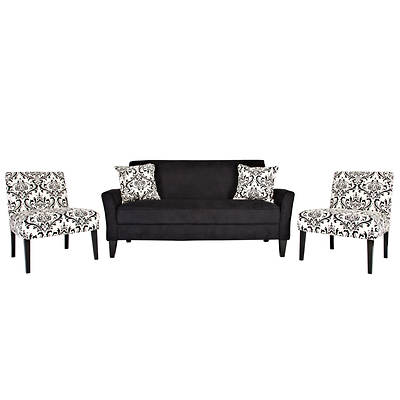 Handy Living Courtney Sofa with 2 Nate Chairs - Black