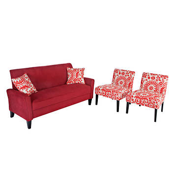 Handy Living Courtney Sofa with 2 Nate Chairs - Crimson Red