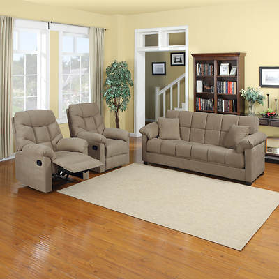Handy Living Convert-a-Couch Full-Size Sleeper Sofa with 2 Recliners - Mocha