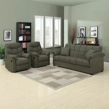 Handy Living Convert-a-Couch Full-Size Sleeper Sofa with 2 Recliners - Sage