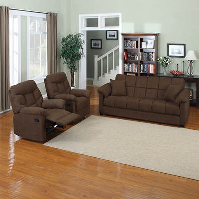 Handy Living Convert-a-Couch Full-Size Sleeper Sofa with 2 Recliners - Dark Brown