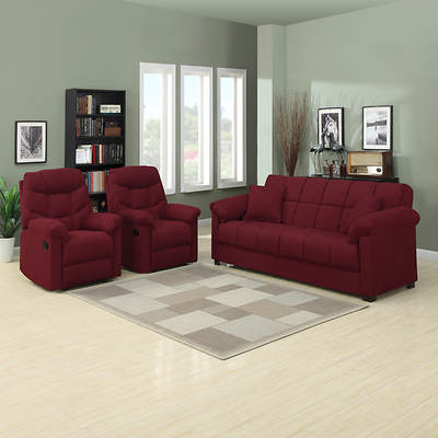 Handy Living Convert-a-Couch Full-Size Sleeper Sofa with 2 Recliners - Crimson Red