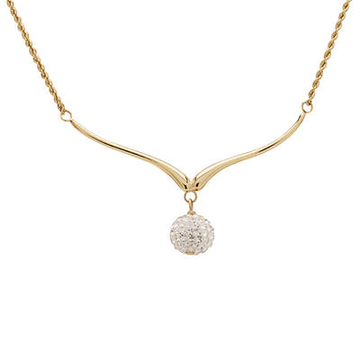 Two-Tone Pave Crystal Bead Wishbone Necklace