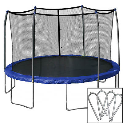 Skywalker Trampolines 15' Round Trampoline with Safety Enclosure and Bonus Wind Stakes