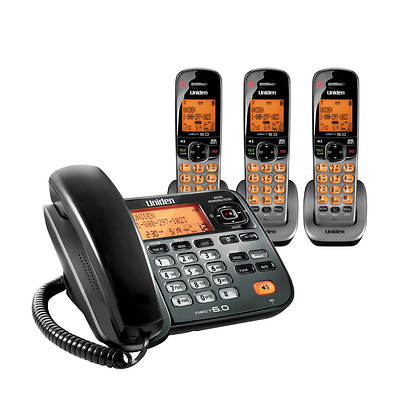 Uniden 3-Handset Corded/Cordless Telephone with Digital Answering System (D1788-3TBB)