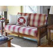 Handy Living Omaha Wood Loveseat - Red Plaid