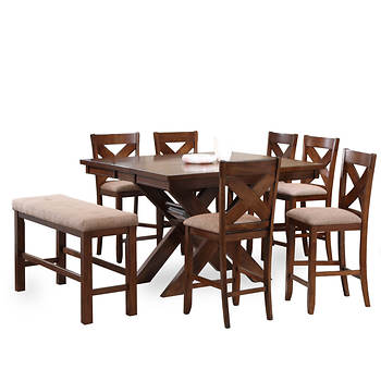 Powell Kraven 8-Pc. Gathering-Height Dining Set - Dark Hazelnut/Beige