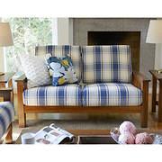 Handy Living Omaha Wood Loveseat - Blue Plaid