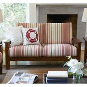Handy Living Virginia X-Design Wood Frame Loveseat - Red Stripe
