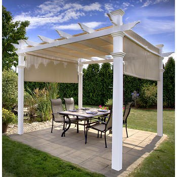 New England Arbors 10' x 10' Malibu Pergola with Canopy