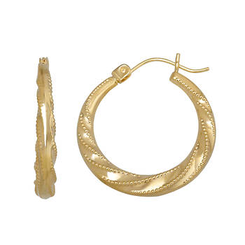 14K Yellow Gold Beaded and Swirled Hoop Earrings