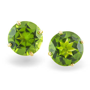 3.80 Carat Peridot Stud Earrings in 14K Yellow Gold