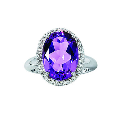 4.50 Carat Amethyst and .10 ct. t.w. Diamond Cocktail Ring in Sterling Silver