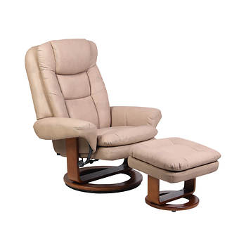 Comfort Chair Collection Bonded Leather Swivel Recliner with Ottoman - Stone/Walnut