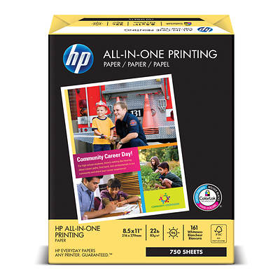 HP All-In-One Printing Paper with 97 Brightness, 22-lb., Letter, 750 Sheets per Pack - White