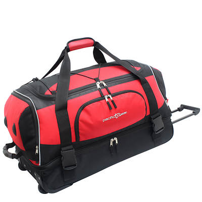 "Pacific Gear 30"" Drop-Bottom Rolling Duffel Bag - Red"