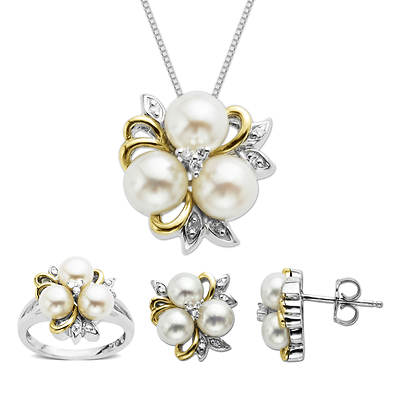 Ocean Treasures .15 ct. t.w. Diamond and 5-7mm White Cultured Freshwater Pearl 3-Piece Jewelry Set in Two-Tone